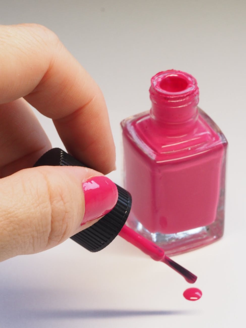 pink nail polish bottle